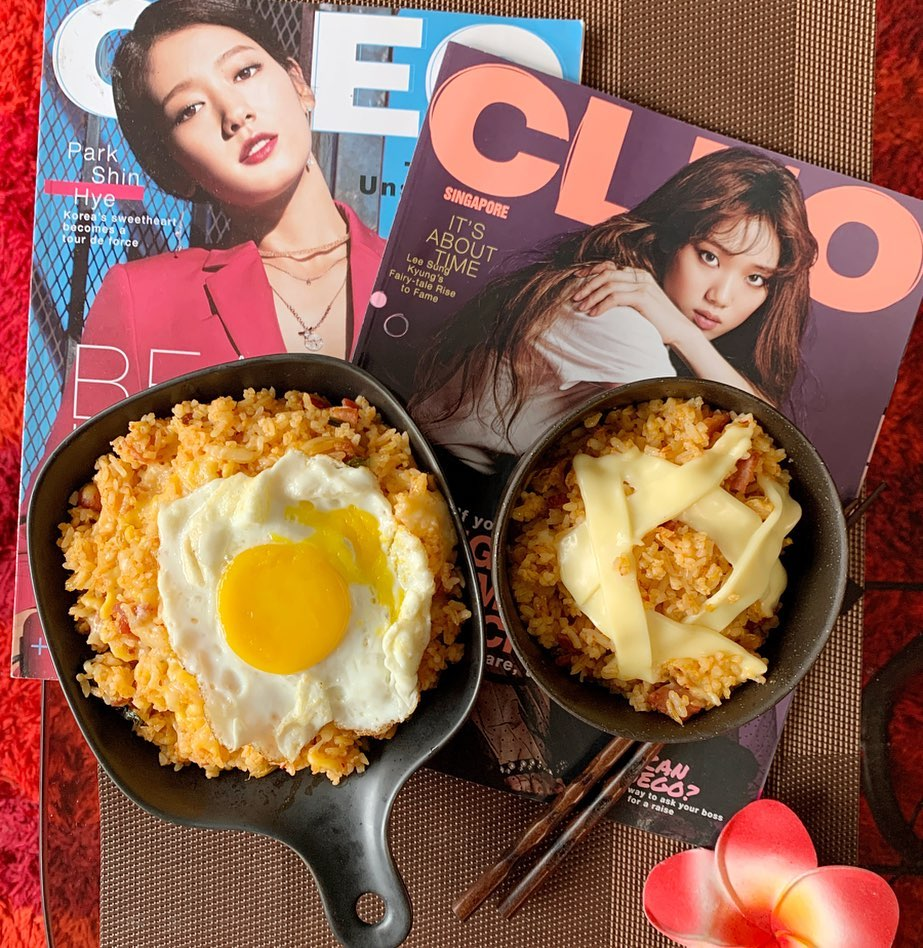 Kimchi Rice with Bacon and Cheese