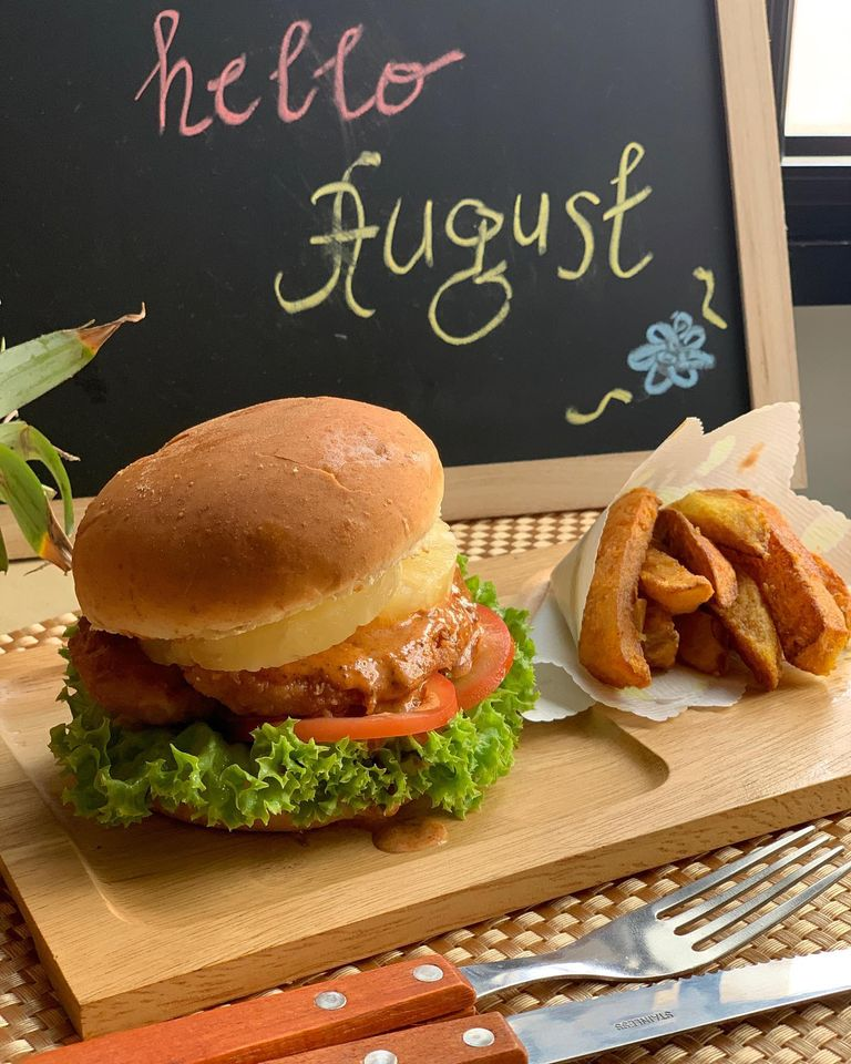 House of Hazelknots - Hawaiian Har Cheong Gai Burger & Turmeric Potato Fries
