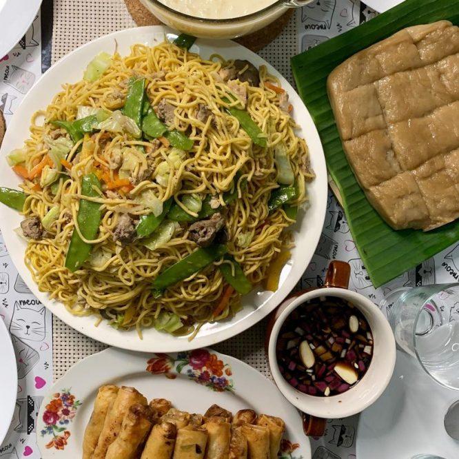 Pancit Canton, Lumpia Shanghai, Kalamay and Ginataang Mais