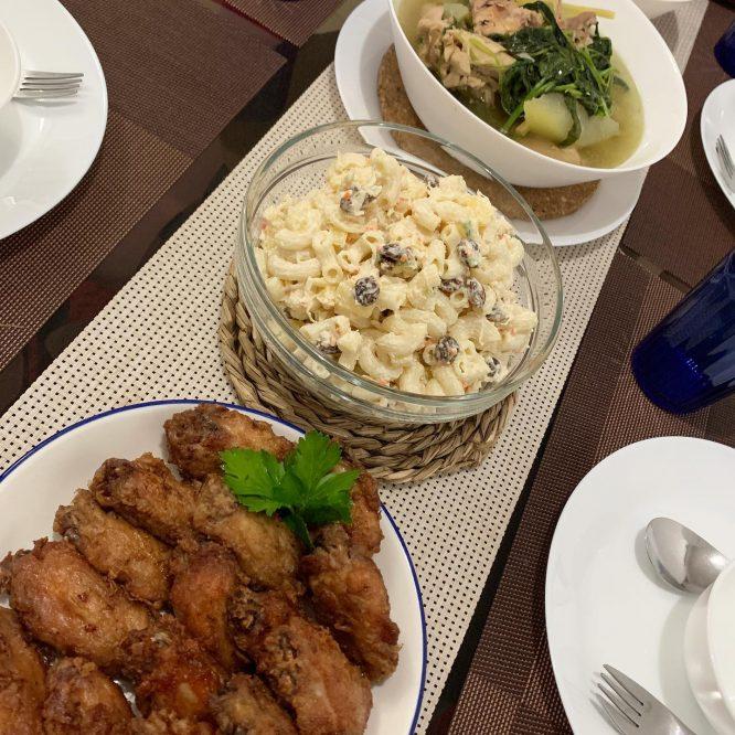 Prawn Paste Chicken, Tinola with Gizzard and Chicken Macaroni Salad
