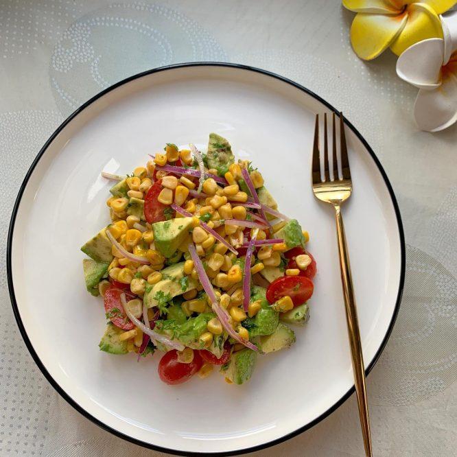 Pan roasted corn and avocado salad
