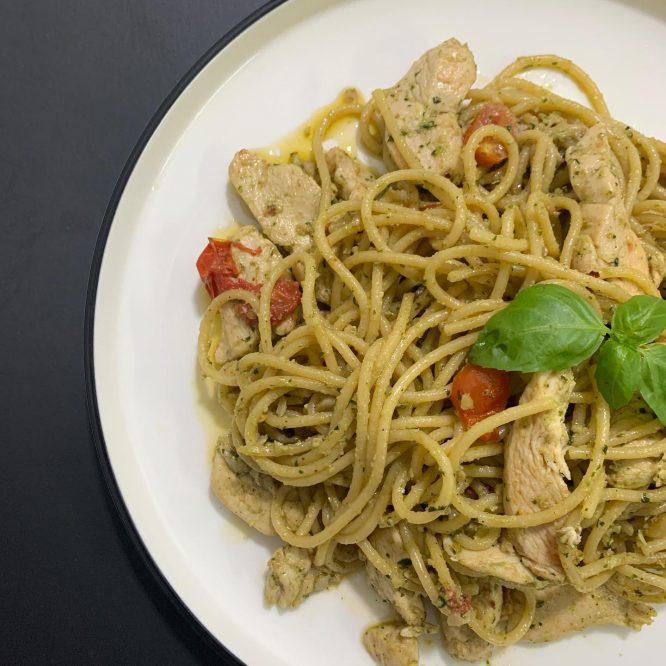 Chicken Pesto Pasta with Homemade Pesto Sause