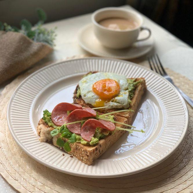 Singapore Breakfast - Quinoa Avocado Toast and Salami - House of Hazelknots