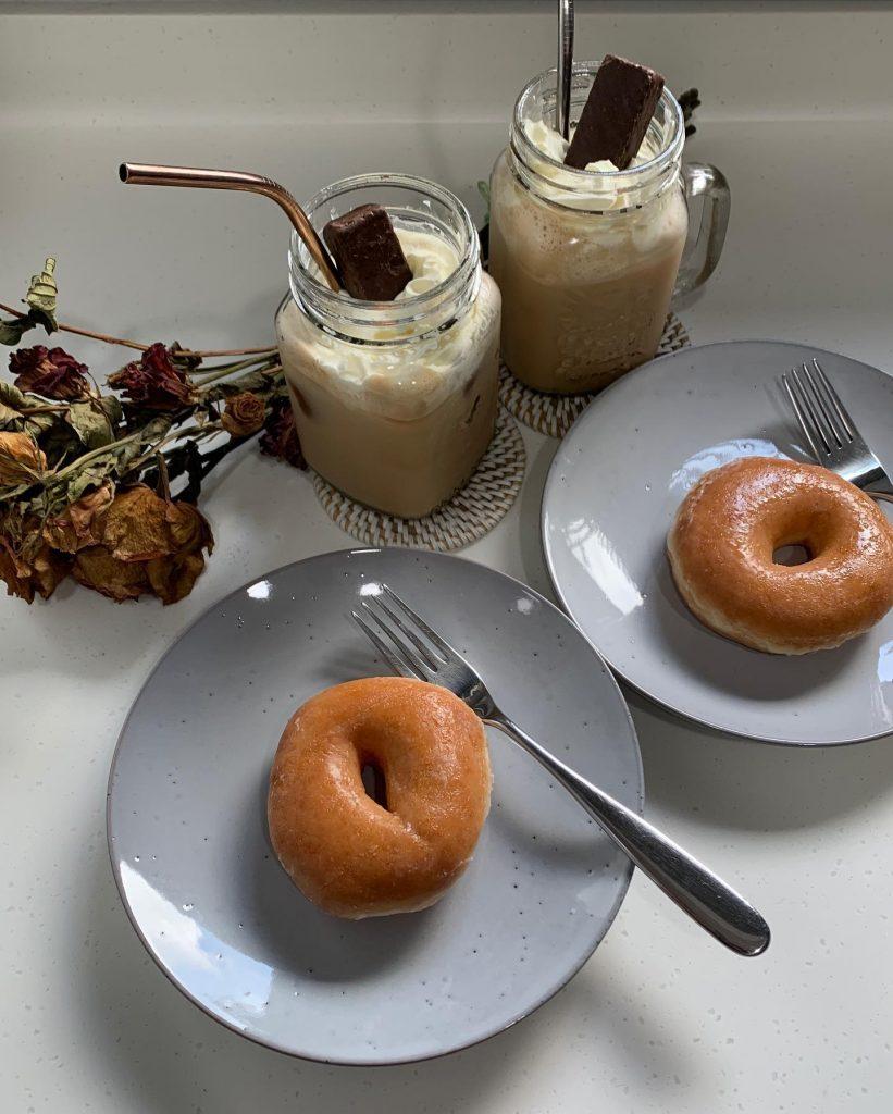 Home made Frappe and Krispy Kreme Donuts