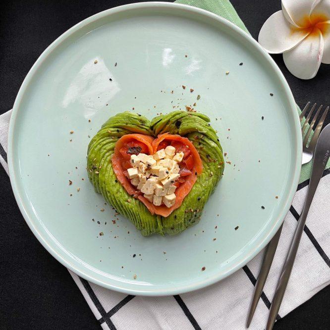 Heart Shape Avocado with Smoked Salmon