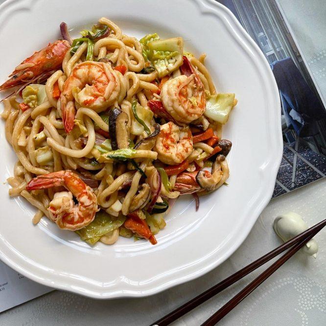 Japanese Food - Udon Stir Fry with Shrimp - House of Hazelknots