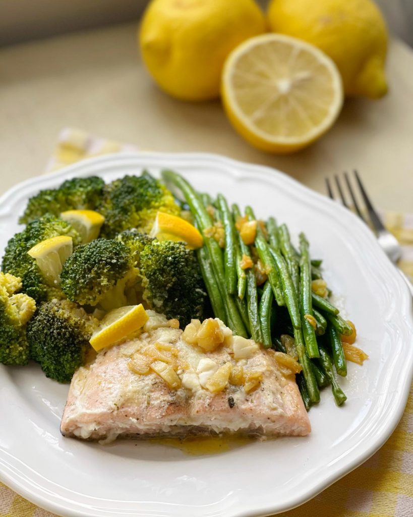 Parboiled broccoli with stir fried baby french beans & buttered salmon - House of Hazelknots