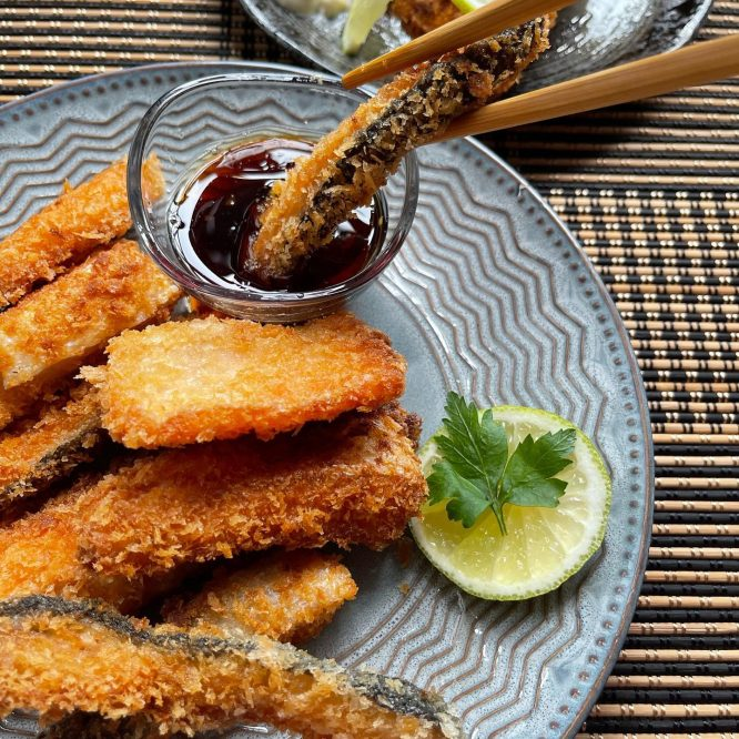 Crispy Salmon Belly with Aioli and Soy-Sesame Dipping Sauce - House of Hazelknots
