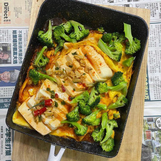 Silken tofu with egg and broccoli - House of Hazelknots