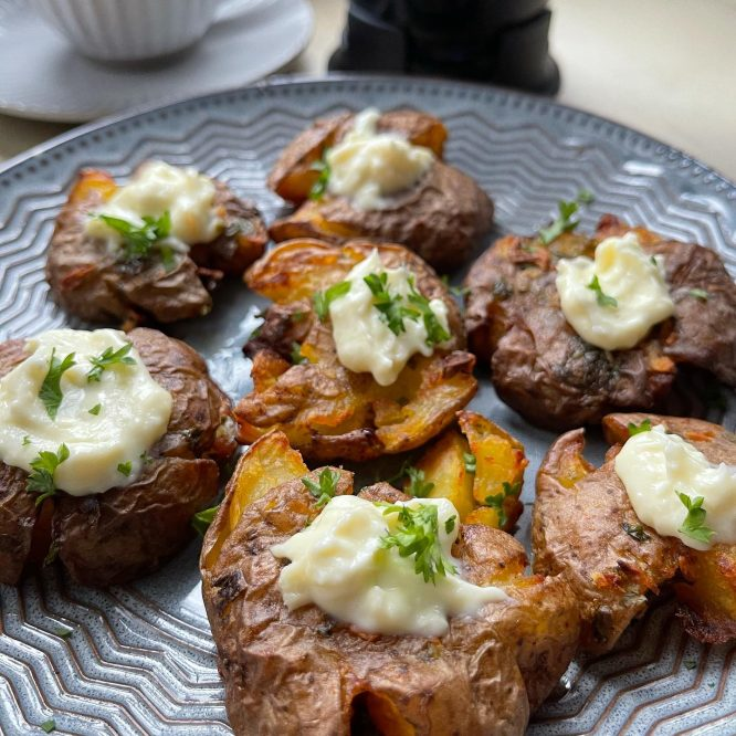 Air fried smashed marble potatoes with cream cheese and coffee