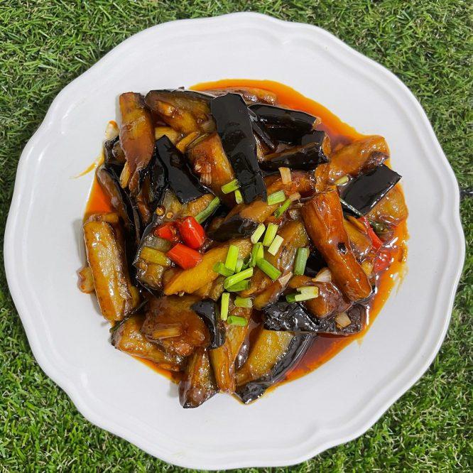 Stir fried eggplant in gochujang sauce