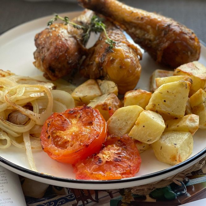 Air fried herbed chicken
