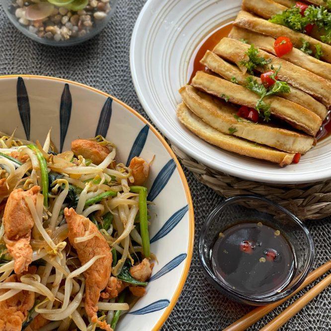 Stir fry Togue with Spinach plus Fried Tofu