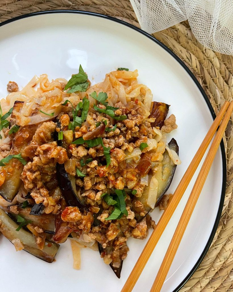 Spicy hor fun  noodles with eggplant in mapo tofu sauce - House of Hazelknots