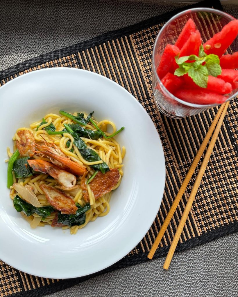 Singapore - Stir fried hokkien noodles and watermelon- House of Hazelknots