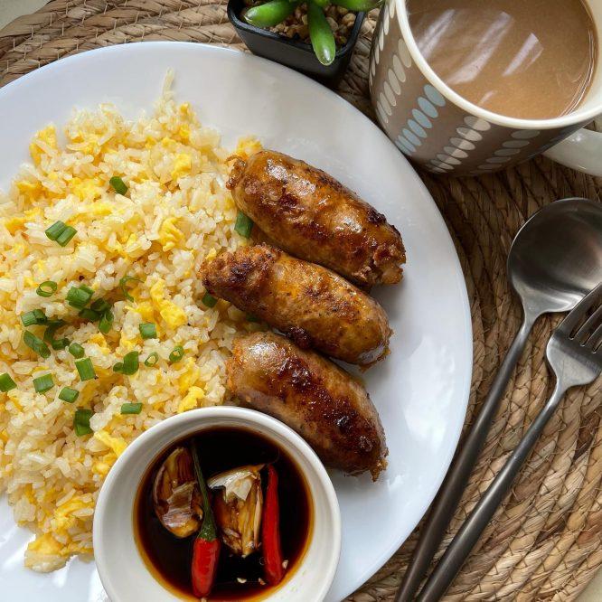Pinoy Food - Garlic Longganisa and Fried Rice