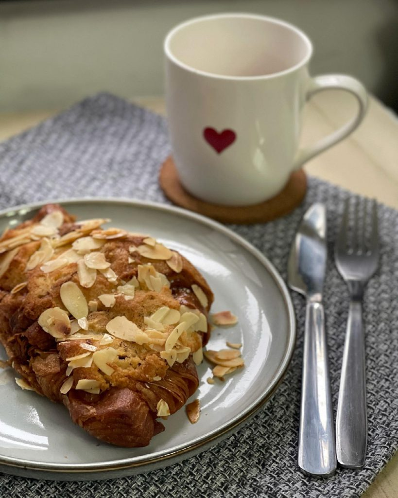 Almond croissant and ginger tea - house of hazelknots