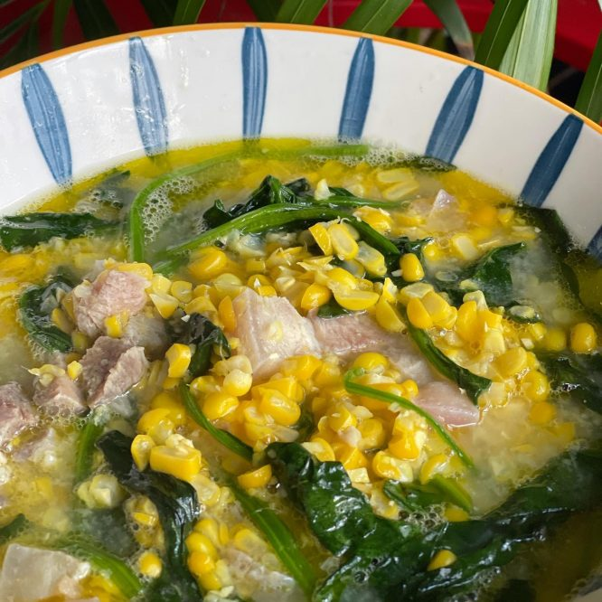 Pinoy Food - Suam na Mais with Spinach